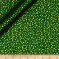 QT Fabrics Basics Holiday Metals Dots Blender Green/Metallic Gold