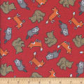 Printed Flannel Foxy Friends Red