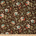 QT Fabrics Antiquities Bethel Packed Floral Dark Brown