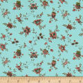 QT Fabrics Antiquities Bethel Spaced Floral Vine Aqua