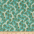 QT Fabrics Antiquities Bethel Floral & Leaves Light Teal