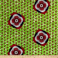 Supreme African Wax Print Broadcloth 6 Yards Green/Red