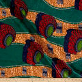 Supreme Basin African Print Broadcloth 6 Yards with Rhinestones Green/Red