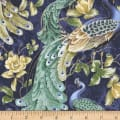 Timeless Treasures Feathered Peacock All Over Peacock Metallic Pacific
