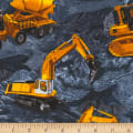 Timeless Treasures Construction Trucks Slate