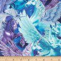 Timeless Treasures Packed Pegasus Unicorns Royal