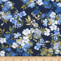 Timeless Treasures Fields Of Blue Watercolor Flowers Navy