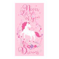 """Timeless Treasures Never Let Go Of Your Dreams 24"""" Unicorn Panel Metallic Pink"""