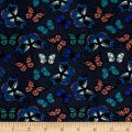 Double Brushed Spandex Jersey Knit Multi Butterflies Mauve/Blue