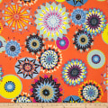 Double Brushed Poly Spandex Jersey Knit Carnaval Multi on Orange
