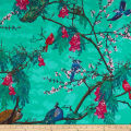 Art Gallery Decadence Florid Peacocks Lush Mirage Blue