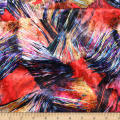 Telio Kimono Velvet Knit Print Paint Brush Black Red
