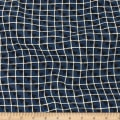 Telio Robin Polyester Faile  Print Grid Midnight Blue