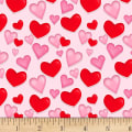 Henry Glass Love Struck Tossed Hearts Pink
