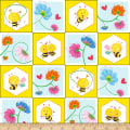 Henry Glass Busy Bees Bees In Small Squares Yellow
