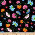 Henry Glass Busy Bees Flowers Black/Multi
