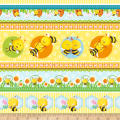 Henry Glass Busy Bees Novelty Bee Stripe Yellow