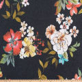 Juliet Floral Print Stretch Crepe Floral Black