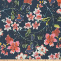Flower Blossom Pebbled Stretch Crepe Floral Navy