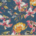 Preview Textiles Spring Milano Flowers Crinkle Crepe Floral Blue