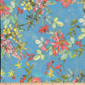 Botanical Garden Pebbled Stretch Crepe Floral Navy