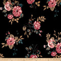Techno Scuba Knit Floral Bouquet Mauve/Black