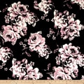 Techno Scuba Knit Romantic Roses Black/Rose