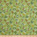 QT Fabrics Hungry Animal Alpha Alphabet Toss Green