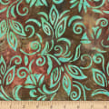 Anthology Fabrics  Art Inspired Batik Nighthawks Spaced Floral Brown