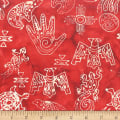 Anthology Fabrics Specialty Batik Southwest Symbols Red