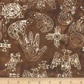 Anthology Fabrics Specialty Batik Southwest Symbols Brown