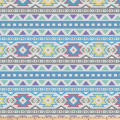 Tribal Pattern Double Brushed Fleece Blue