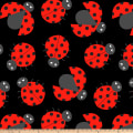 Ladybug Crowd Double Brushed Fleece Black