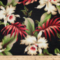 Trans-Pacific Textiles Island Bouquet Barkcloth Black