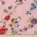 Telio Polyester Pebble Crepe Print Floral Pink