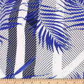 Telio Picasso Rayon Poplin Print Foliage Graphic Stripe Royal