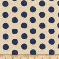 Kaufman Sevenberry Canvas Natural Dots Navy