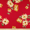 Double Brushed Poly Spandex Jersey Knit Floral Mustard on Red