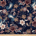Double Brushed Poly Spandex Jersey Knit Retro Paisley Floral Navy