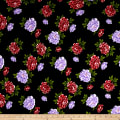 Liverpool Double Knit Carnations Navy/Lilac-Red