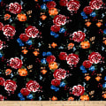 Liverpool Double Knit Tea Roses Navy/Orange