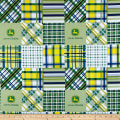 John Deere Everyday Cotton Madras Plaid Patch Blue
