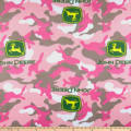 John Deere Everyday Fleece Logo Toss On Camo Pink