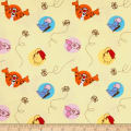 Disney Pooh Nursery Cotton Flannel Pooh Bee Cuddly Dot Toss Yellow