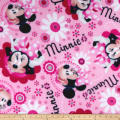 Disney Minnie Bowtique Minnie Face And Flower Toss Fleece Pink