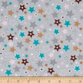 Fox/Sheep/Bear Flannel Star Grey