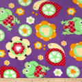 Plush Coral Fleece Friendly Frogs Purple
