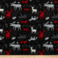 Forest Animals Fleece Black