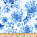 Henry Glass Blue Dream Large Floral Vine Light Blue