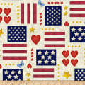 Henry Glass America The Beautiful Hearts And Flags Off White/Multi